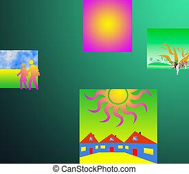 composition, résumé, couleur