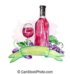 composition, rouges, aquarelle, vin