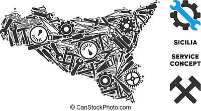 Composition Sicilia Map of Repair Tools - Repair service...