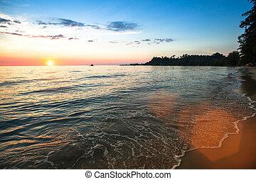 composition., sopra, tramonto, sea., natura