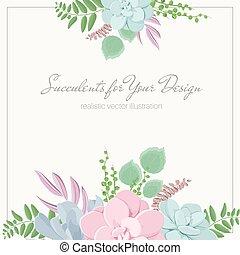 composition., succulento, pietra, ghirlanda, fogliame, mazzolino, rosa, felce, disegno, colors., fogliame, pastello, floreale, fiori, echeveria