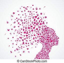 composition., testa, donna, cancro, nastro, consapevolezza,...