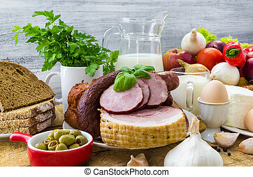 composition variety grocery products meat dairy
