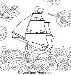 composition., velejando, doodle, imagem, onda, contorno,...