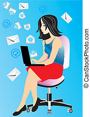 e-mail - composition with a girl who sends and receives e-...