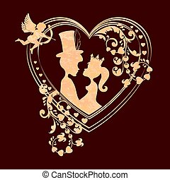 Composition with a silhouette of the heart with a cupid and lovers boy and girl in the crown,