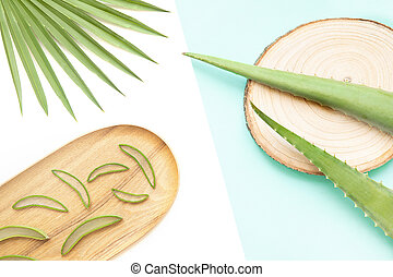 Composition with aloe vera flat lay concept. Natural skin care cosmetic for the body and face