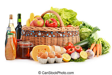 Composition with assorted grocery products isolated on white