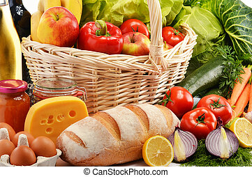 Composition with assorted grocery products