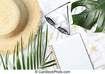 Composition with blogger accessories on white background. Travel blog