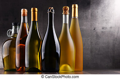 Composition with bottles different sorts of wine