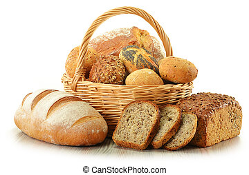 Composition with bread and rolls in wicker basket isolated ...