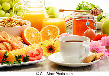 Composition with breakfast on the table. Balnced diet. - ...