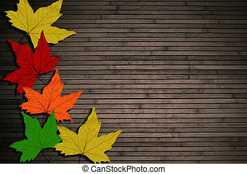 leaves on the wooden background