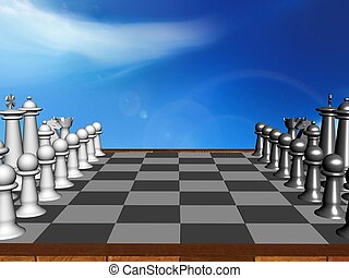 chess - Composition with chessmen on glossy chessboard