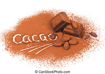 Composition with cocoa and chocolate