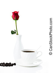 Composition with cup of coffee and rose on a white background