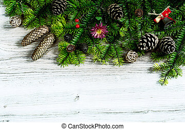 Composition with decorated Christmas tree on rustic wooden background