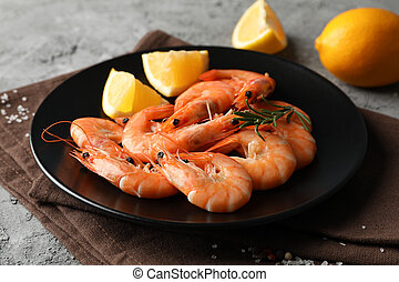 Composition with delicious shrimps on grey background, close up
