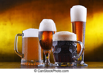 Composition with four glasses of beer