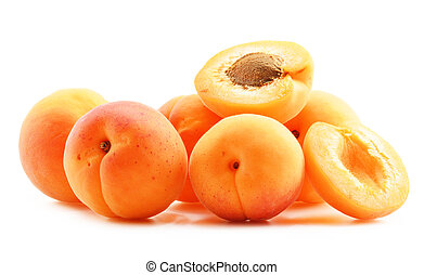 Composition with fresh ripe apricots isolated on white ...