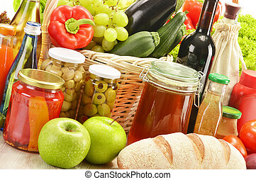 Composition with grocery products in shopping basket