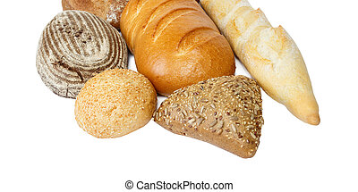 Composition with loaf of bread isolated on white background
