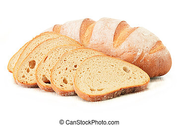 Composition with loafs of bread isolated on white background