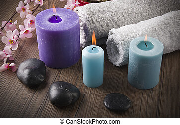 Composition with lucky bamboo candles spa concept