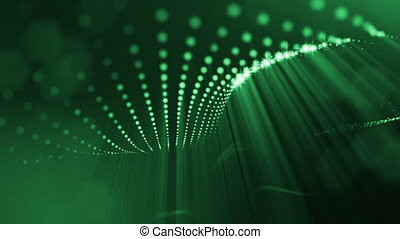 Composition with oscillating luminous particles that form...
