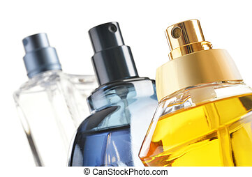 Composition with perfume bottles on white background