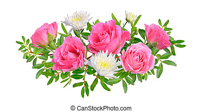 Composition with Pink rose with chrysanthemum. Isolated on white background