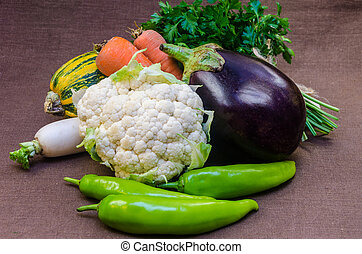 Composition with raw fresh vegetables.