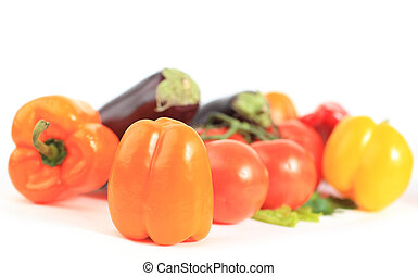 Composition with raw vegetables and