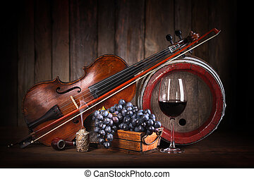Composition with red grape, wine, violin and barrel -...