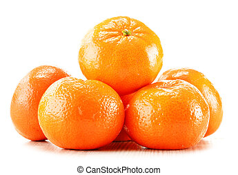 Composition with tangerines isolated on white background