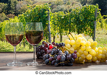 Composition with two wineglasses of red wine