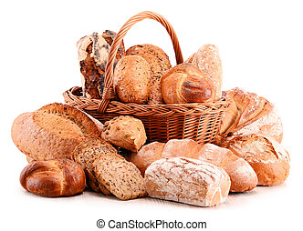 Composition with variety of baking products isolated on...
