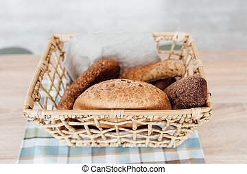 Composition with variety of baking products on table