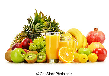 Composition with variety of fresh fruits. Balanced diet -...