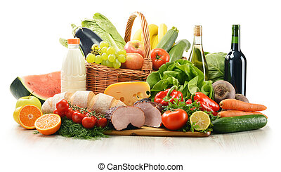 Composition with variety of grocery products including vegetable, fruits, meat, dairy and wine