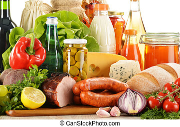 Composition with variety of grocery products including ...