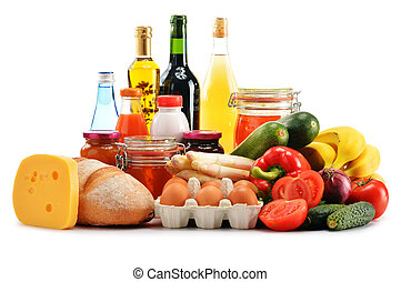 Composition with variety of grocery products isolated on...