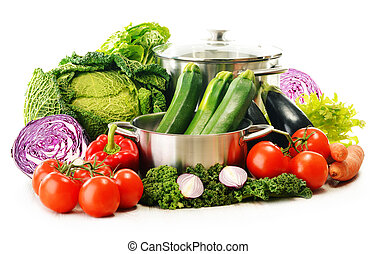 Composition with variety of organic vegetables isolated on white