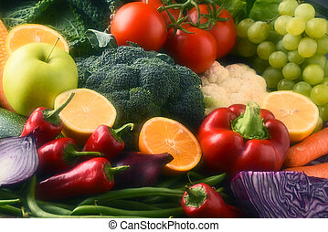 Composition with variety of raw organic vegetables and fruits