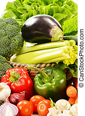 Composition with variety of raw vegetables