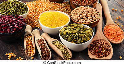 Composition with variety of vegetarian food ingredients.