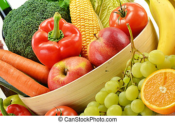 Composition with vegetables and fruits isolated on white