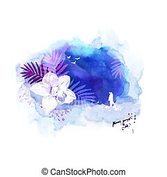 Composition with white silhouette of woman standing on the coast of tropical place. Banner with orchid on the abstract blue background.