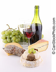 wine, cheese and bread on white